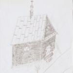 Pierwsza kapliczka około 1770r. - rycina