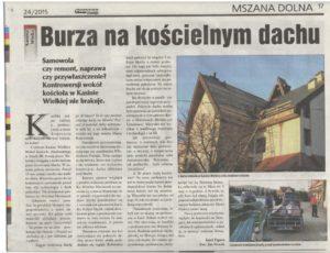 Tygodnik Podhalański pisze o SAMOWOLCE ks. Wiesława Maciaszka na kościele w Kasinie Wielkiej