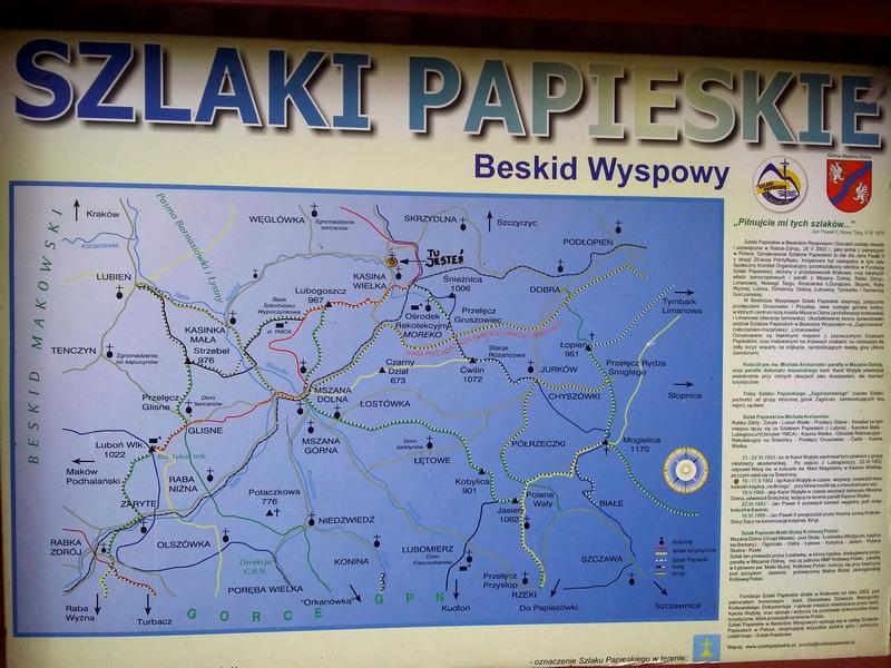 Szlaki Papieskie Mapa Beskid Wyspowy - Kaplica Na Brzegu